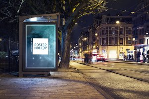 Nighttime city abri kiosk mockup