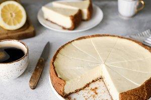 Lemon cheesecake on a table