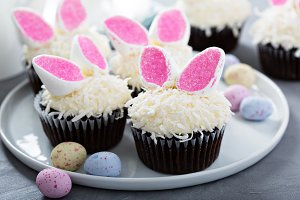 Easter chocolate cupcakes with bunny ears