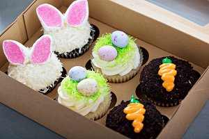 Assortment of easter cupcakes in a box