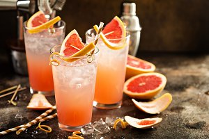 Grapefruit cocktail in tall glasses