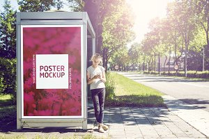Outdoor busstop advertising mockup