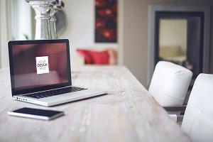 Simple home interior laptop mockup