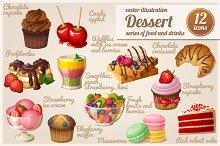 Set of food icons. Dessert.