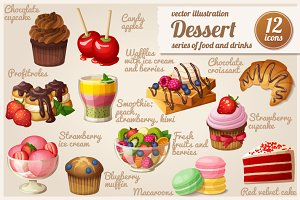 Set of food icons. Dessert.