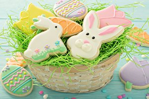 Easter cookies on blue table