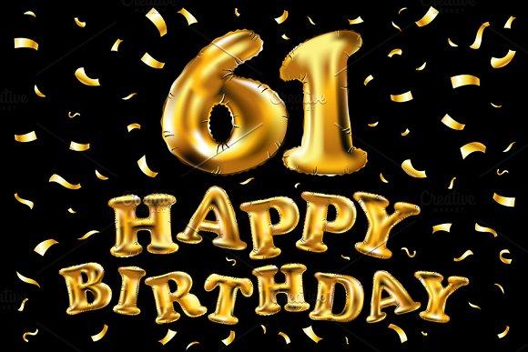Happy Birthday 61 Balloons Gold