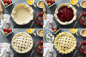 Making strawberry pie process collage
