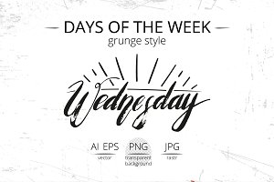 Daily letering. Grunge style