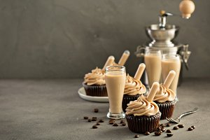 Chocolate espresso cupcakes with irish cream liquor