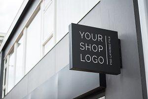 Outdoor black shop logo mockup