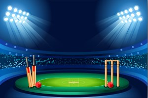 Cricket stadium vector background