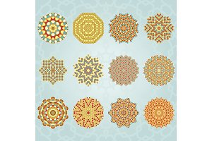 Mandalas geometric vintage colors set Vector illustration