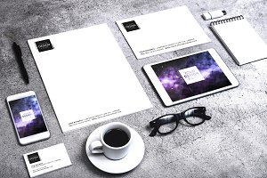 concrete stationary design mockup