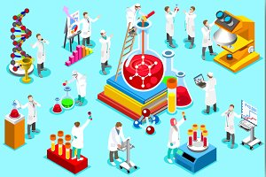 Laboratory staff isometric people