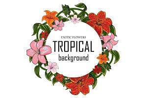 Tropical illustration with place for your text lily flowers and leaves isolated on white background Vector illustrations