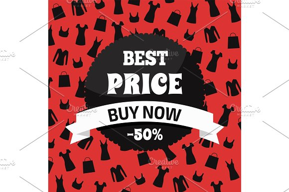 Best Price Buy Now Red And Black Promotion Card
