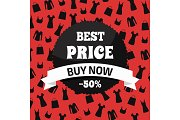 Best Price Buy Now, Red and Black Promotion Card