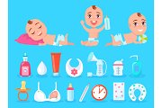 Baby and Objects for Kid Care Vector Illustration
