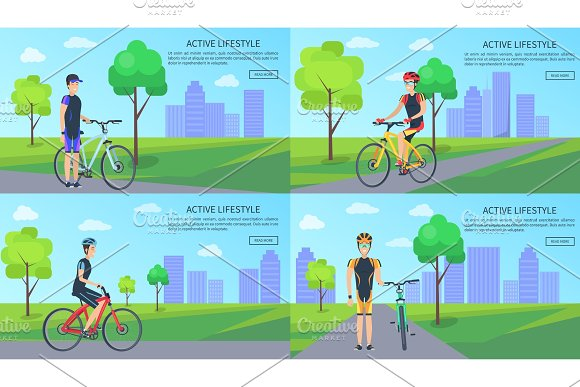 Active Lifestyle Collection Vector Illustration