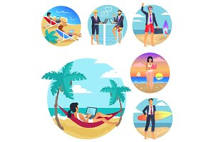 Business Trip Vacations Poster Vector Illustration