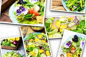 Lettuce salad collage
