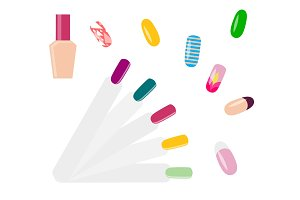Set of Beautiful Nail Examples Vector Illustration