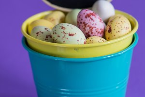 Easter eggs in a bucket