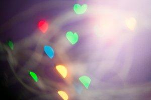 Defocused bokeh hearts