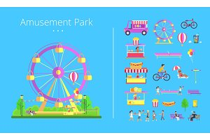 Amusement Park Collection Vector Illustration