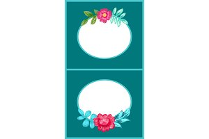Drawn Colorful Flowers Posters Vector Illustration