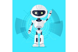 Robot and Interface Azure Vector Illustration