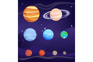 Planet Set of Bodies Poster Vector Illustration