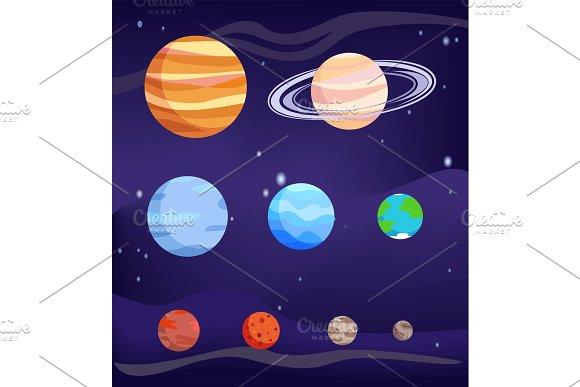 Planet Set Of Bodies Poster Vector Illustration