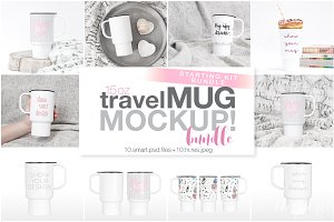 15oz Plastic Travel Mug Mockup Bundl
