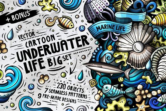 Sea Life Cartoon Doodle Big Pack