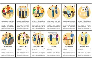 Office Work and Teamwork Set Vector Illustration