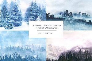 Foggy landscapes. Watercolor