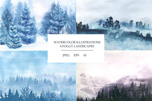 Foggy landscapes. Watercolor