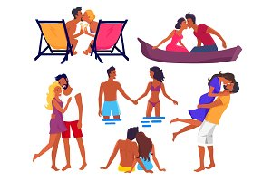 Couples in Love on Summer Holidays Illustrations