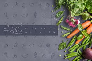 One Line Vegetables & Fruit