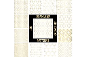 SET Golden arabic abstract patterns