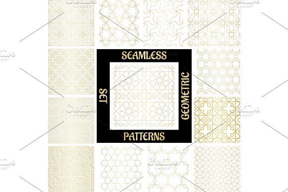 SET Golden Arabic Abstract Patterns