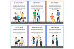 Successful Team Office Work Vector Illustration