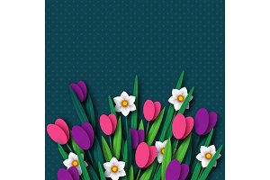 Paper cut spring flowers tulip and narcissus.