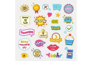 Bright Stickers with Short and Expressive Phrases