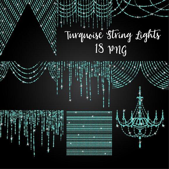 Glitter Turquoise String Lights