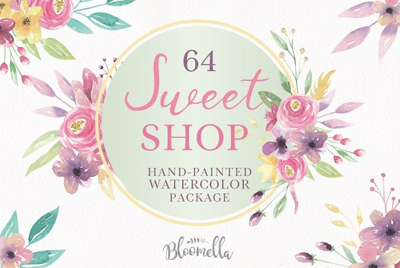 Sweet Floral Watercolor Pink Clipart