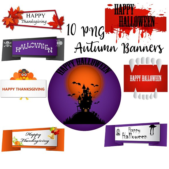 Autumn Banners Clipart