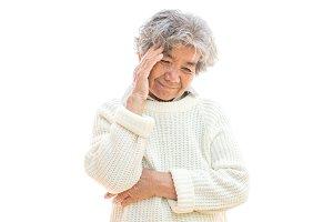 Old woman headache on white